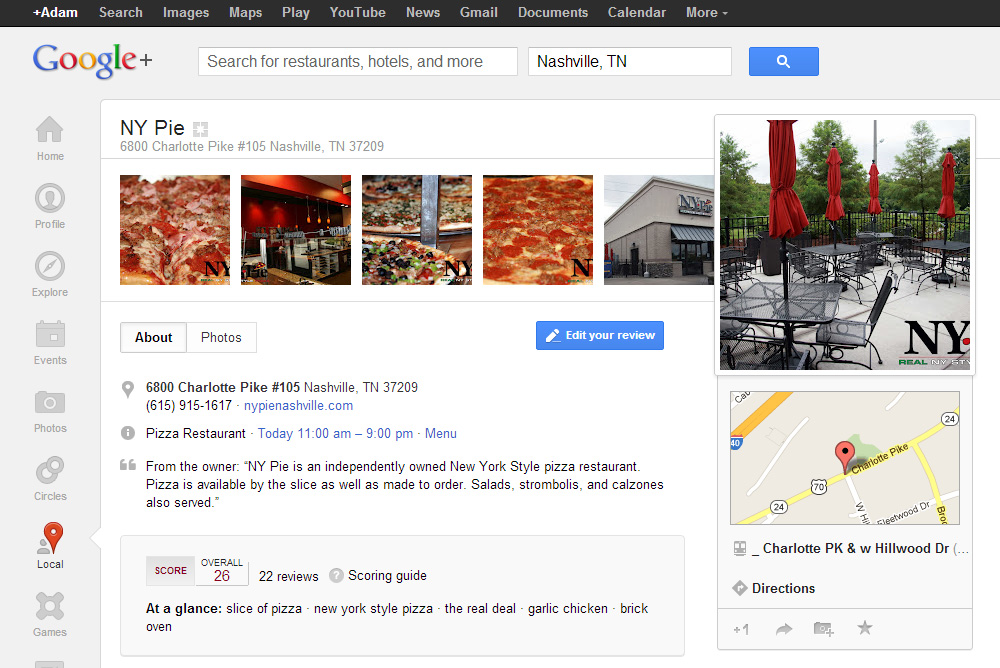 NY Pie on Google Plus