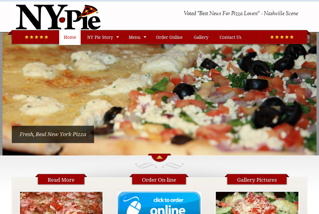 NY Pie website screenshot